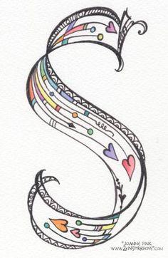 S Monograms - Zenspirations Hand Lettering Alphabet, Doodle Lettering, Creative Lettering, Lettering Styles, Fancy Fonts Alphabet, Typography, Caligraphy Alphabet, Doodle Alphabet, Calligraphy Letters