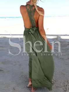 Army Green Deep V Neck Backless Maxi Dress 21.99