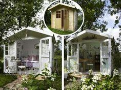 Surprising Umstyling: A gazebo to stay Backyard Paradise, Backyard Retreat, Backyard Landscaping, Garden Hideaway Ideas, Garden Structures, Outdoor Structures, Greenhouse Shed, Garden Deco, She Sheds