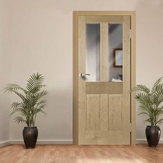OXFORD RADIATA PINE DOOR WITH BEVELLED CLEAR SAFETY GLASS
