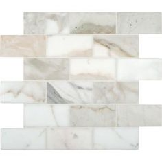 Kitchen backsplash MS International Calacatta Gold 12 in. x 12 in. Polished Marble Mesh-Mounted Mosaic - The Home Depot Calacatta Gold Marble, Marble Subway Tiles, Marble Mosaic, Stone Mosaic, Mosaic Wall, Travertine, Mosaic Tiles, Wall Tiles, Calacatta Oro