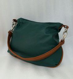 Green Leather Hobo Bag, Everyday Purse, Small Flat Handbag, Women Handbags #Handmade #HoboShoulderBag