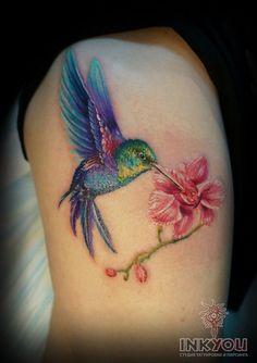 Hummingbird tattoo on leg new school by Marusya Bryskina - tatoo feminina Flor Tattoo, 1 Tattoo, Mom Tattoos, Cute Tattoos, Body Art Tattoos, Small Tattoos, Tatoos, Hummingbird Flower Tattoos, Hummingbird Tattoo Watercolor
