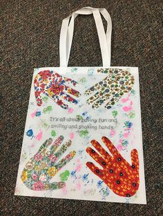 Hands on Tote Art Project: A great intergenerational activity with older children, using skills to trace, color and cut under the supervision of senior residents or staff. This activity promotes teamwork and creates a special bond between seniors and children.