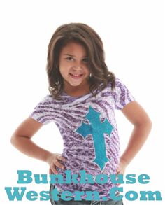 SALE! Girl's Purple Zebra Cross tee, Cowgirl Tuff Company youth clothing, little cowgirl clothing, kids western apparel, http://www.bunkhousewestern.com/Girl_s_Purple_Zebra_Cross_Tee_by_Cowgirl_Tuff_Comp_p/7364.htm