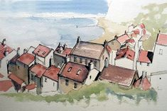 The online home of John Harrison, artist: purveyor of line drawings with watercolour Landscape Sketch, Landscape Drawings, Watercolor Landscape, Landscapes, Sketchbook Drawings, Art Sketches, Art Drawings, Watercolor Journal, Pen And Watercolor