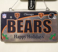 Chicago Bears License Plate Christmas Ornament Chicago Nfl, Chicago Bears Baby, Chicago Movie, Nfl Bears, Chicago Hotels, Chicago Restaurants, Chicago Christmas Tree, C Bear, Christmas Ornament