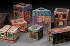 Handmade Paper Boxes, wax resist, collage and stitching. ©Claudia Lee