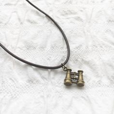 Antique gold binoculars leather necklace brown by JunkboxCouture