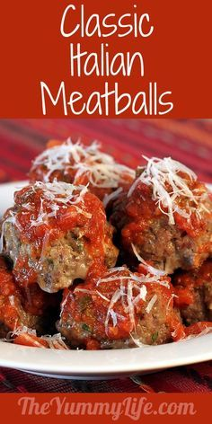Classic Italian Meatballs. They're the most tender, delicious meatballs ever! From TheYummyLife.com.