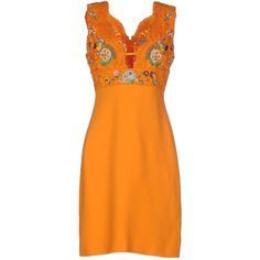 Emilio Pucci Short Dress (4.510 BRL) ❤ liked on Polyvore featuring dresses, orange, embroidery dress, embroidered dress, orange sleeveless dress, embroidered mini dress and short sleeveless dress