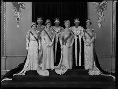 The 1937 Coronation, Queen Mary dominating this family group. It is interesting to recall that in the days after the Abdication it was thought that the Duke of York would prove unequal to the task & it would be better for the crown to pass to the young,fashionable & good-looking Kents (on the right).