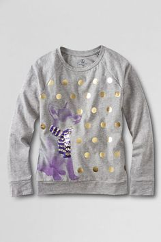 Girls' Long Sleeve Embellished Holiday Crewneck Graphic T-shirt from Lands' End