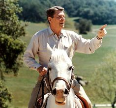 President Reagan-love this photo! What is the horse saying?