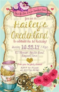 Birthday Invitation • Alice in Onederland Tea Party Theme • No cost economy shipping • Fast turnaround time • Great customer service • These birthday invitations are custom, high resolution digital files that are personalized for each customer upon order