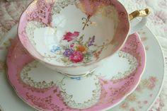 pink china tea cup