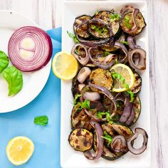Thanks Audrey! making this today! Grilled Zucchini and Red Onions With a Lemon-Basil Vinagrette