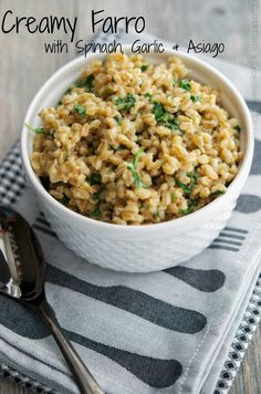 Creamy Farro with Spinach, Garlic & Asiago-Carrie's Experimental Kitchen #farro #vegetarian