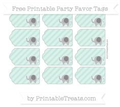 Pastel Green Diagonal Striped  Elephant Party Favor Tags