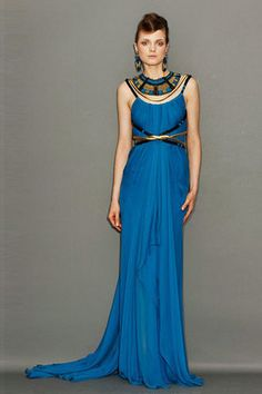 Marchesa Resort 2011: Cobalt blue Grecian gown with tribal necklace. Brilliant