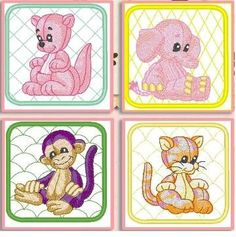 12 Baby Animals Machine Embroidered Quilt by SherrysNeedleworks. $24.00, via Etsy.
