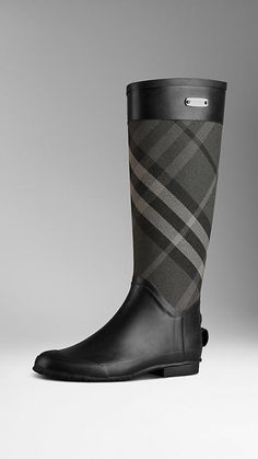 Check Panel Rain Boots | Burberry