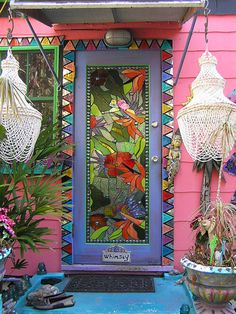 One of a kind door on a one of a kind home in Safety Harbor, FL. United States. USA. travel. doors of the world. unique doors. front doors.