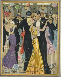 Vintage Happy New Year Card New Year Illustration, Art Deco Illustration, Vintage Illustrations, Photography Illustration, Art Nouveau, Christmas And New Year, Vintage Christmas, Vintage Posters, Vintage Art