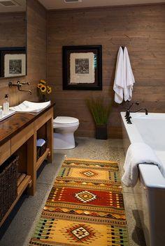 Rustic Full Bathroom with Wood counters, Vessel sink, simple granite tile floors, High ceiling