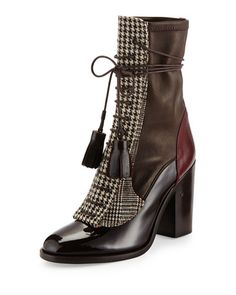 S0CMD Laurence Dacade Man Repeller Houndstooth Lace-Up Boot, Dark Brown