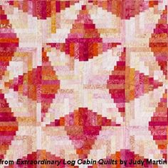 Detail of Lakeshore Log Cabin, designed by Judy Martin. Pattern is in Extraordinary Log Cabin Quilts, due to be published in November, 2013. Quilting With Judy Martin -- Lessons, Blocks, and Quilting Products From The World-Reknowned Quilter