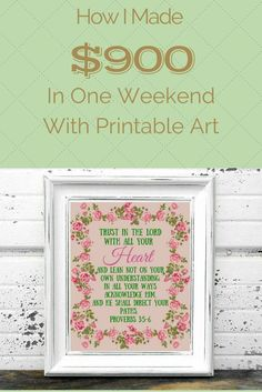 How I made $900 in one weekend with printable art: A great passive way to help a SAHM generate income. | THE FRAGGLE MOMMA