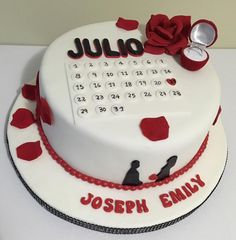 Anniversary Dessert, Anniversary Cake Designs, Happy Anniversary Cakes, Wedding Anniversary Cakes, Engagement Cake Design, Engagement Cakes, Cake Decorating Icing, Cake Decorating Designs, Aniversary Cakes
