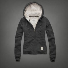 "A&F SHERPA LINED DIEDRA QUILTED HOODIE - Super soft sherpa lining, classic quilted pattern, vintage logo patch near hem, cozy drawstring hood, interior neck taping, Vintage Abercrombie Wash. Size small, Dark heather grey, MSRP $98, Sale $49. - I know you said that you aren't into ""quilted"", but I think this is cute and looks nice and warm. What do you think?"