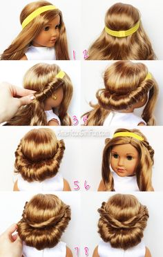 Girl hairstyles 48906345933837134 - Wrapped Headband Updo American Girl Doll Hairstyle (click through for tutorial) Source by craftpatch Ag Doll Hairstyles, American Girl Hairstyles, Bun Hairstyles, Updo Hairstyle, Cool Girl Hairstyles, Fashion Hairstyles, Hairstyle Ideas, American Girl Outfits, American Girl Diy