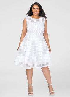 1a6e3804e51 Mesh Stripe Skater Dress Ashley Stewart White Plus Size Dresses