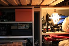 Also from OhYesBlog - under-bed storage for things that you don't need to access all the time.