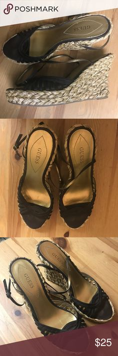 Guess Chocolate Brown Espadrille Wedge Chocolate brown espadrille satin wedges by Guess. Gently worn and well taken care of. Size 10 Guess Shoes Espadrilles