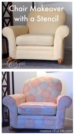 A fun, fast, easy, and inexpensive way to makeover an upholstered chair with the Silhouette | createandbabble.com