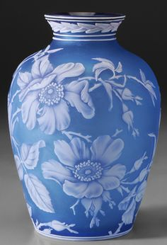 glass, England, A Webb Cameo [glass] vase, English, butterflies and sprays of white wild roses on light blue ground, leaf decoration at collar and below circa 1890-1925