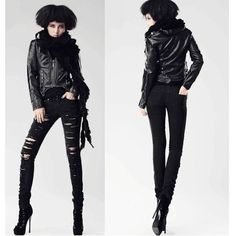 Womens Black Slim Fit Low Rise Punk Rock Jeans Leggings Pants SKU-11404208