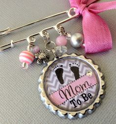 Grandma To Be, Mom To Be, Aunt To Be PERSONALIZED Bottle Cap Pendant Pin - Baby Shower, pregnancy announcement, CHEVRON on Etsy, $17.50