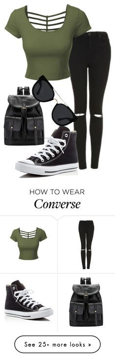 """Untitled #555"" by imsarathepanda on Polyvore featuring Topshop, LE3NO, Converse and Quay"