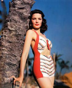 Cool vintage bathing suit on Gene Tierney