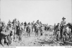 A column of 1,400 Turkish soldiers captured at Magdhaba  being escorted by members of the 10th Australian Light Horse Regiment  Sinai Desert December 1916