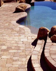 Pool: Charming Private Sun Pool Design Ideas With Paving Stone Pool Deck And Some Rocks Design Ideas: Mesmerizing Stone Pool Deck Design Ideas deck, pool deck Stone Deck, 20 Stone, Pool Porch, Brick Pavers, Belgard Pavers, Pool Pavers, Pool Remodel, Building A Pool, Swimming Pool Designs