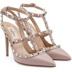 Valentino Rockstud Leather Pumps ($785) ❤ liked on Polyvore featuring shoes, pumps, heels, sandals, rose, pointed toe pumps, leather pointed toe pumps, heels stilettos, pointy toe pumps and stiletto heel pumps