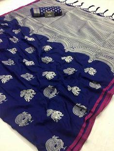 Explore the collection of beautifully designed soft silk sarees. Buy this stylish Blue Soft silk Saree with Blouse Piece - Rachna silk by rajyog Silk Sarees With Price, Soft Silk Sarees, Cotton Saree, Designer Sarees Wedding, Designer Silk Sarees, Sambalpuri Saree, Net Saree, Saree Blouse, Lehenga