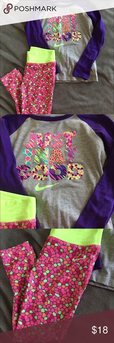 Nike girls outfit - long sleeves shirt & leggings Nike girls outfit - long sleeved top and workout style leggings. Shirt is a size 5 and leggings are a size 6. Only worn a couple times, in excellent condition. Nike Matching Sets