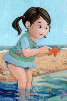 Beach baby with starfish. Starfish, Childrens Books, Disney Characters, Fictional Characters, Disney Princess, Memes, Beach, Illustration, Art